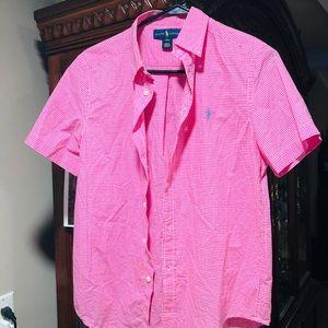 Ralph Lauren Boys Pink Short Sleeve Dress Shirt